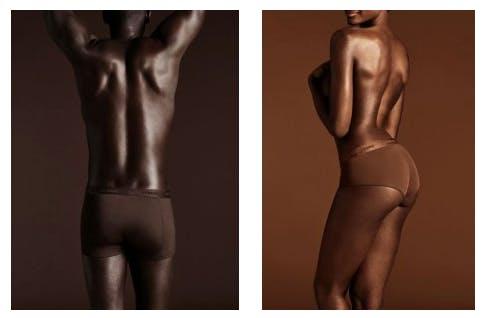 Två bilder med en man och kvinna med mörk hud
