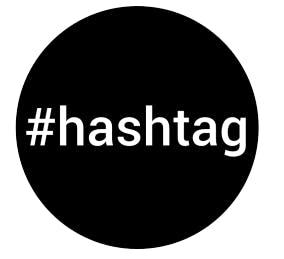 Svart cirkel där det står #hashtag  i mitten