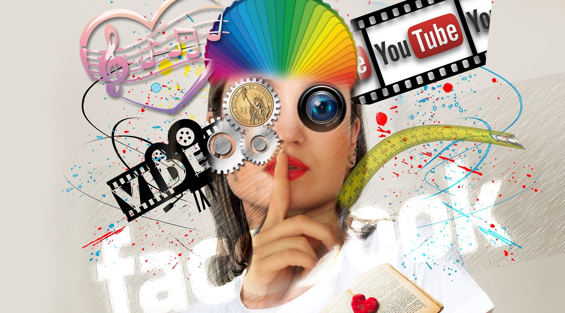 En kvinnas ansikte där det har redigerats in sociala medier logo:r och andra detaljer