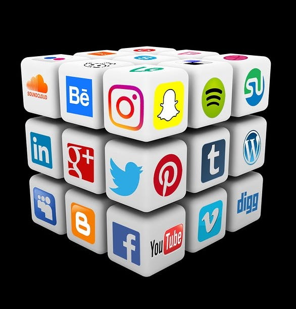 A cube that consists of smaller blocks that has popular plattform logos on each side e.g. facebook, twitter, snapchat and instagram
