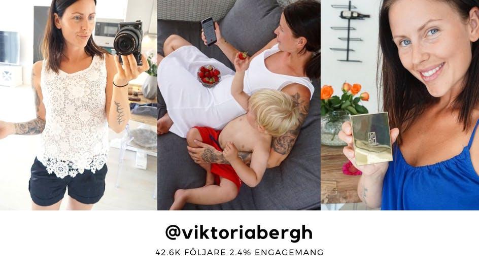 Viktoria Berg tar en selfie, är med sitt barn och håller i ett litet paket